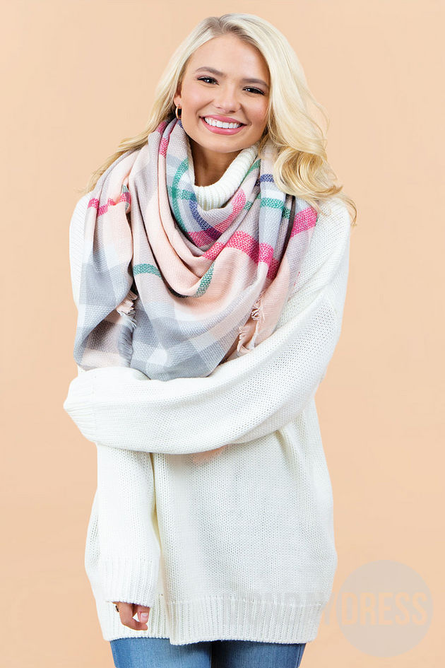 Emerson Plaid Blanket Scarf in Pink