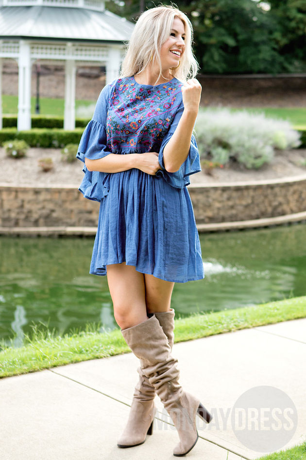 Desert Daisy Dress in Blue