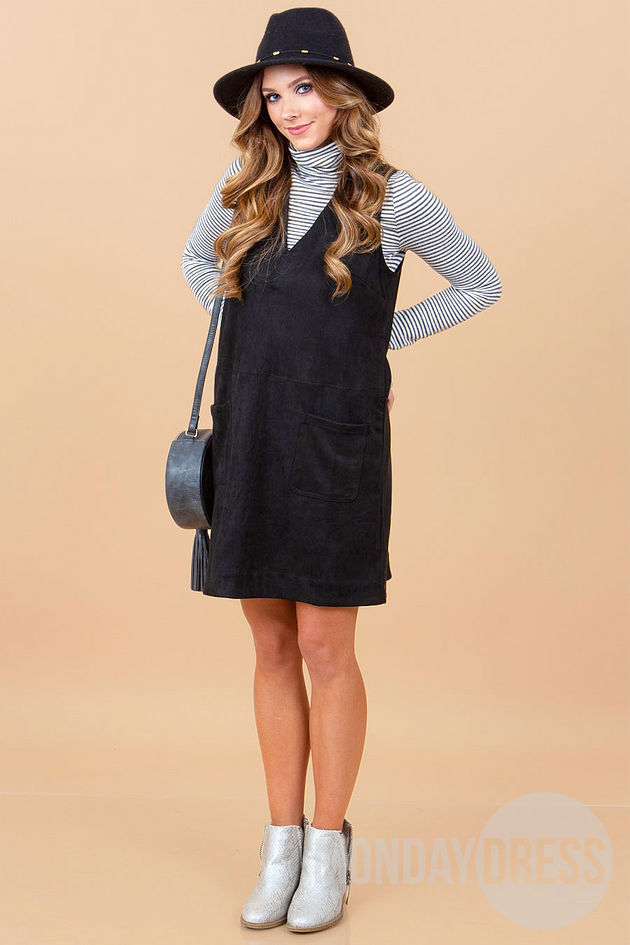 Retro Love Suede Dress in Black