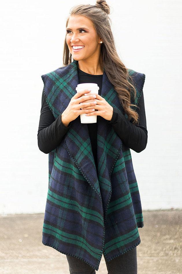 Murphy Blanket Vest in Green