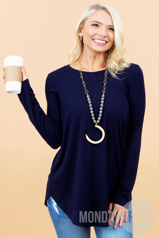 Back to the Basics Top in Navy