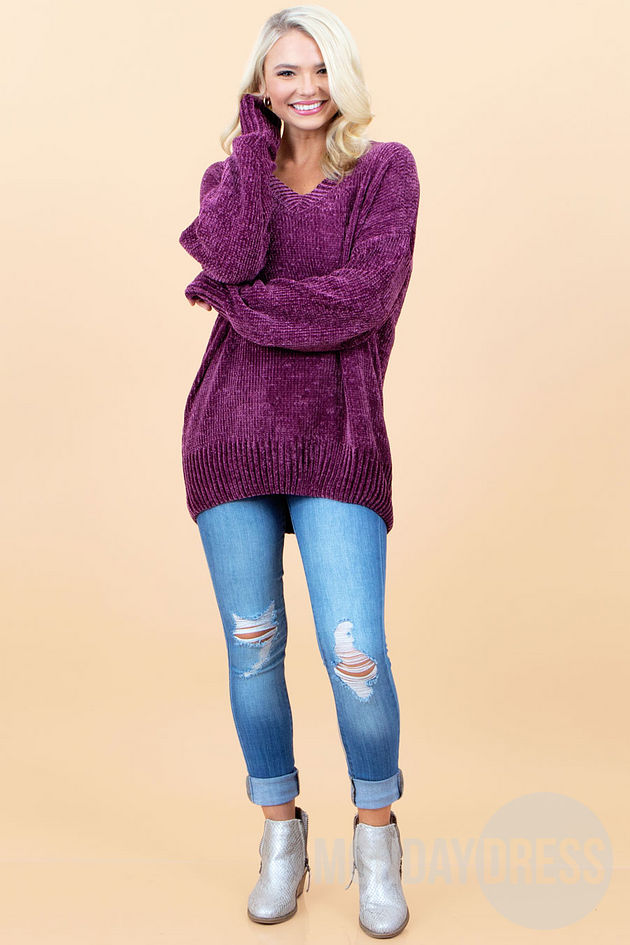 Stay With Me Sweater in Plum