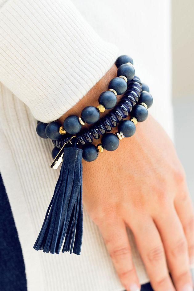 Wooden Tassel Bracelet Set in Navy