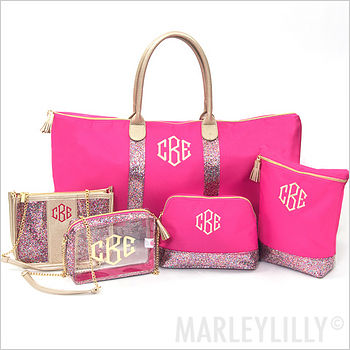 pink bags with monograms