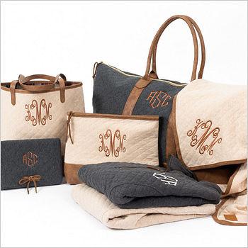 tan and black bags