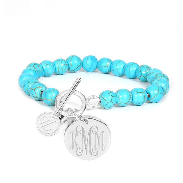 Turquoise Beaded Monogrammed Bracelet