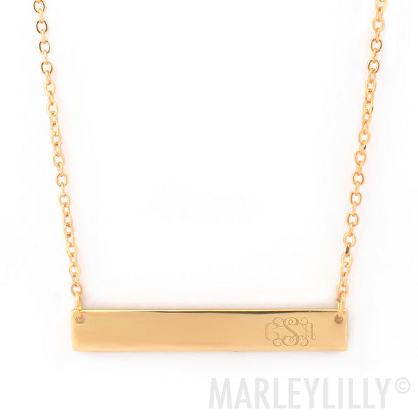 personalized gold rectangle necklace with chain