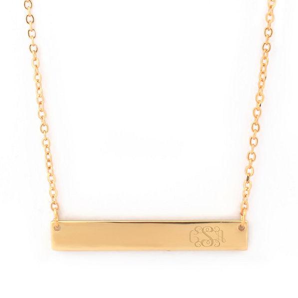 Monogrammed Bar Necklace