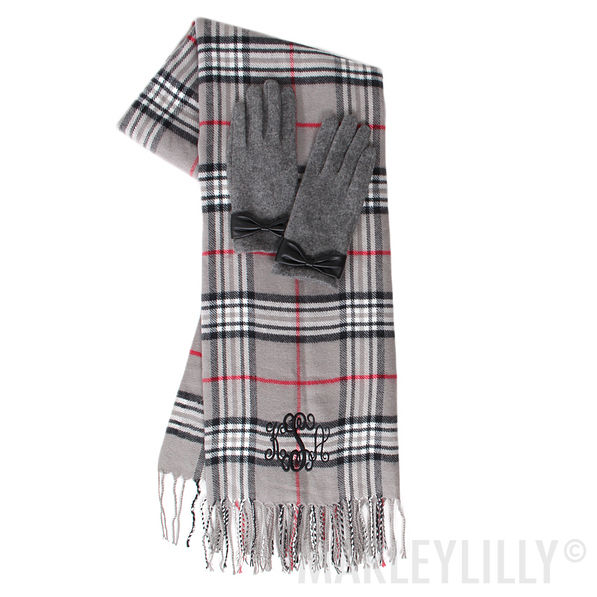 Monogrammed Scarf and Gloves Set