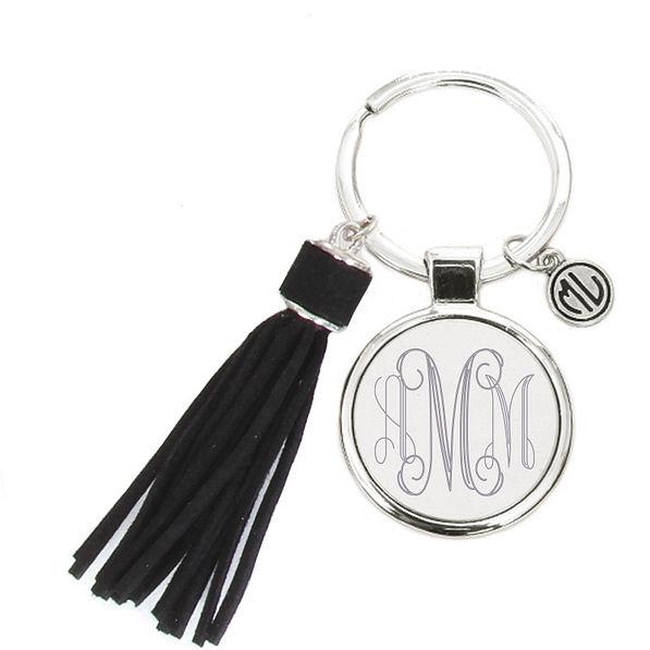 Monogrammed Tassel Key Chain