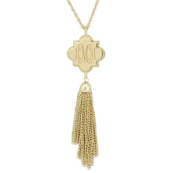 personalized gold tassel quatrefoil necklace