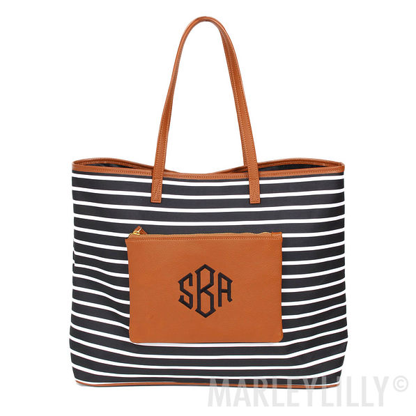 Striped Personalized Black and White Tote Bag