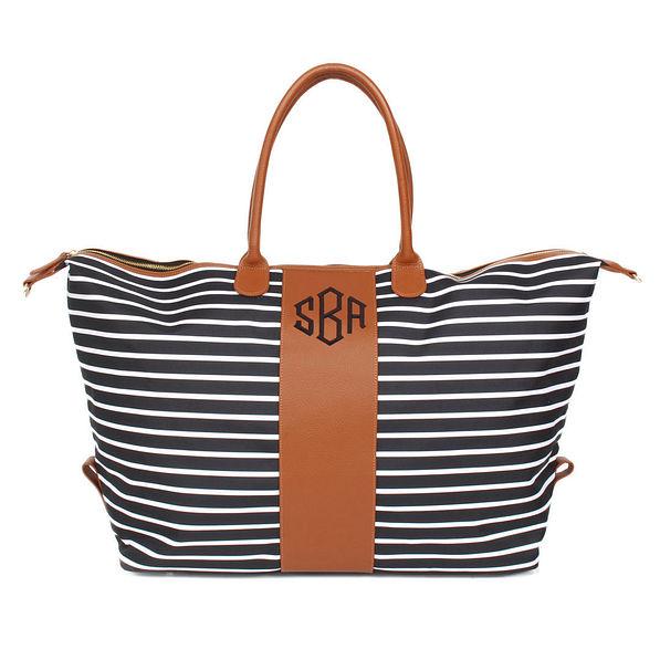 striped monogrammed weekender bag
