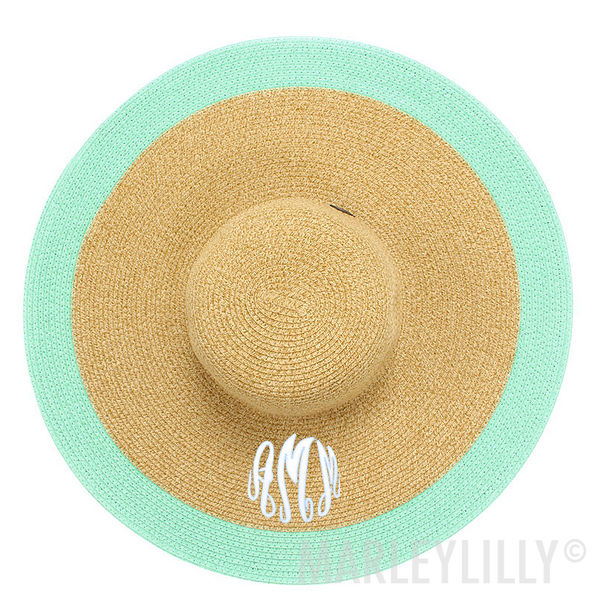 mint and natural Monogrammed Derby Hat