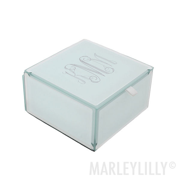 monogrammed white engraved small jewelry box