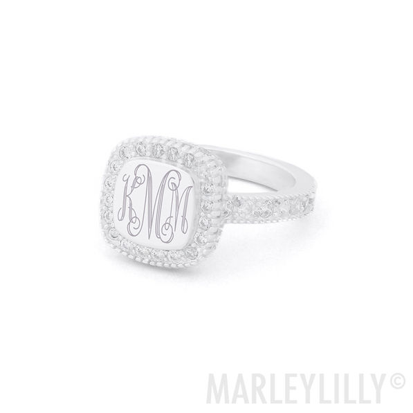 Monogrammed Pave Ring