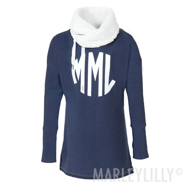 navy personalized sweatshirt with fuzzy lining