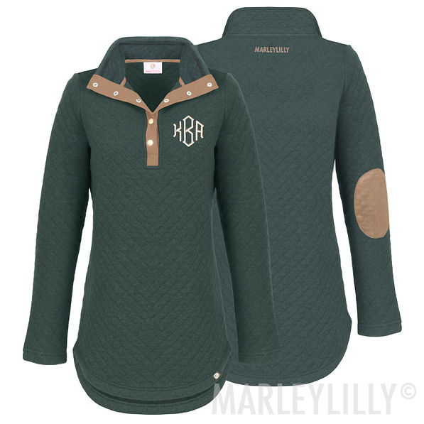 olive Monogrammed Quilted Pullover Tunic
