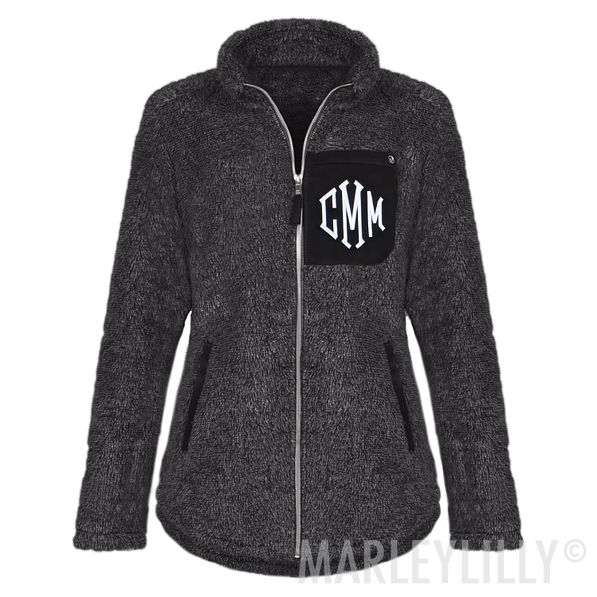 monogrammed sherpa jacket