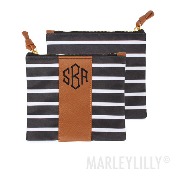 Personalized Zip Pouch, organized bag with leather strip