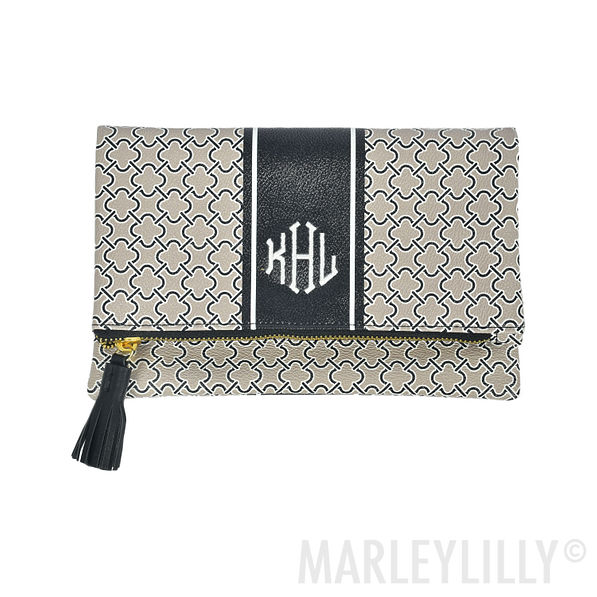 Monogrammed Spencer Foldover Clutch