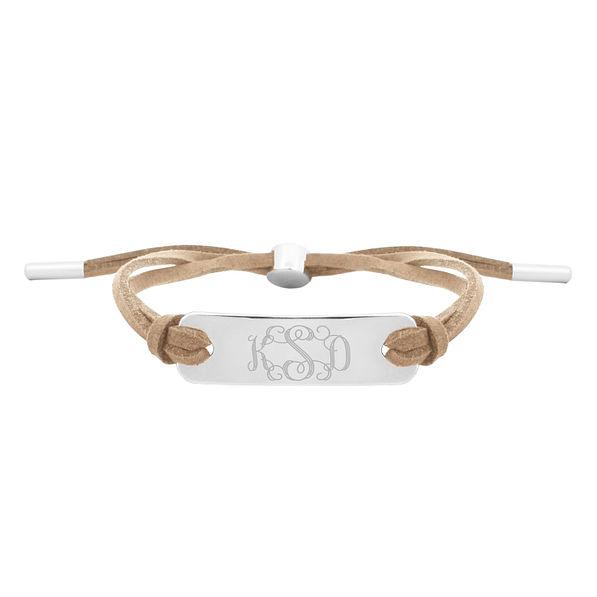 Monogrammed Suede Bracelet in Taupe