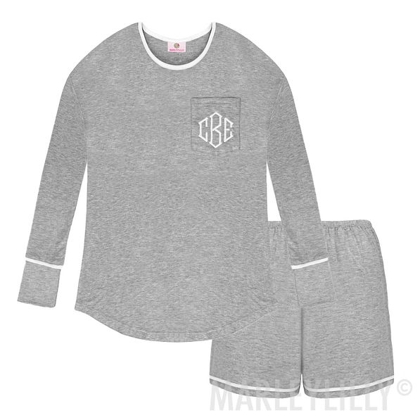 gray personalized pj set with long sleeves and shorts