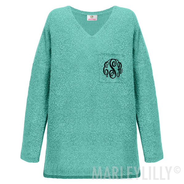 Monogrammed Boyfriend Sweater Mint