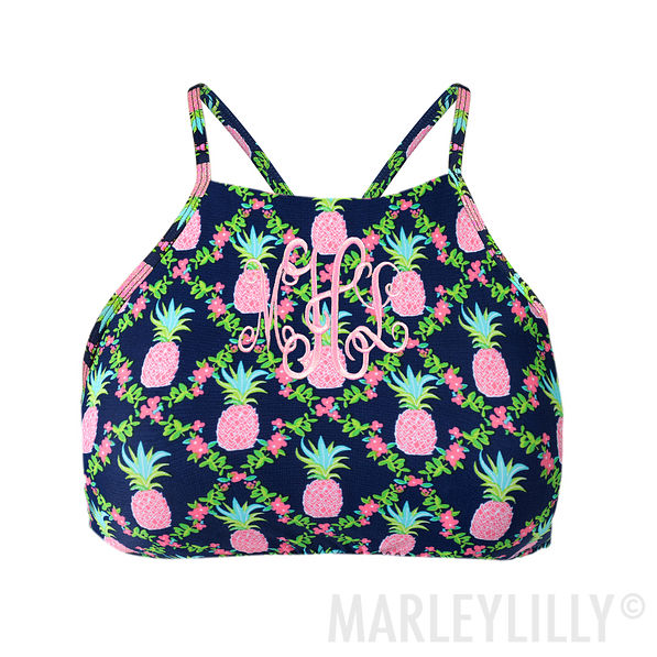 navy and pink pineapple high neck bathing suit top monogrammed