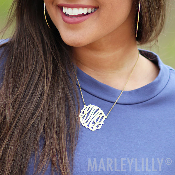 small sterling silver custom monogram necklace