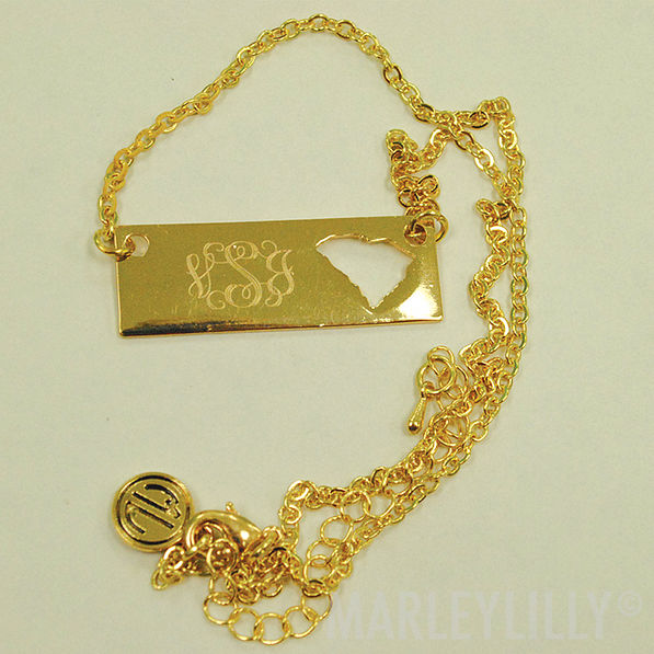 BLOOPER: Monogrammed Golden State Name Plate Necklace- SC