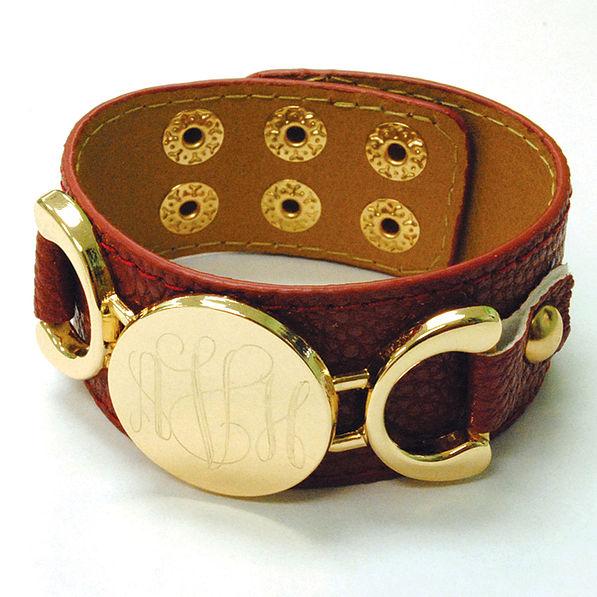 BLOOPER: Monogrammed Leather Cuff Bracelet