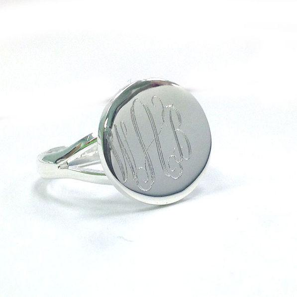 BLOOPER: Silver Tone Monogrammed German Silver Taylor Ring