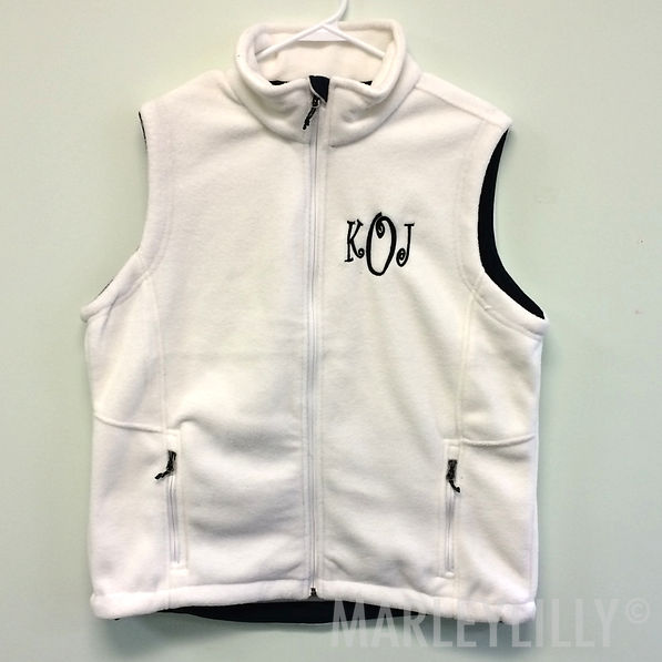 BLOOPER: Monogrammed Fleece Vest