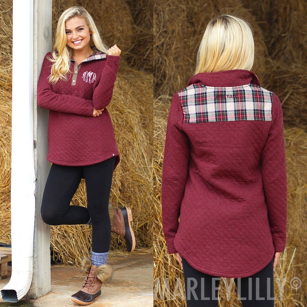 Monogrammed Quilted Pullover Tunic