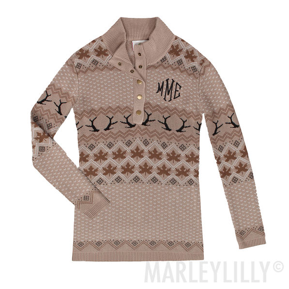 Monogrammed Knit Sweater in tan antlers