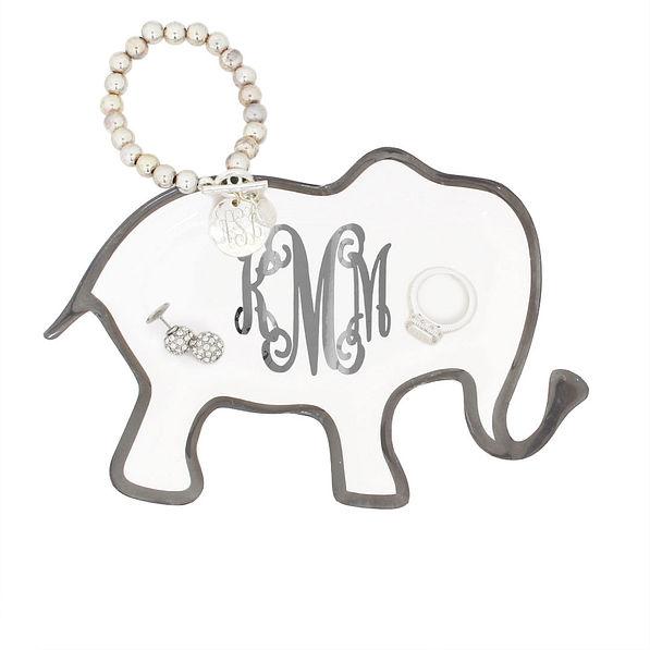 Monogrammed Elephant Ceramic Tray