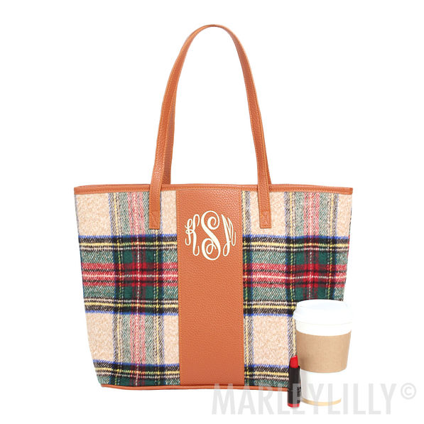 Monogrammed Plaid Tote Bag