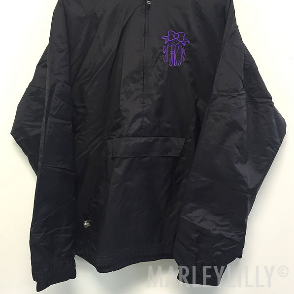 BLOOPER: Monogrammed Pullover Bow Rain Jacket