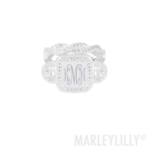Monogrammed Cushion Ring Stack