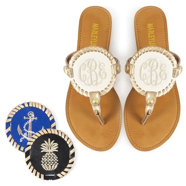 Monogrammed Embroidered Sandals