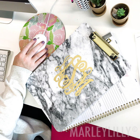 Monogrammed Clipboard in marble