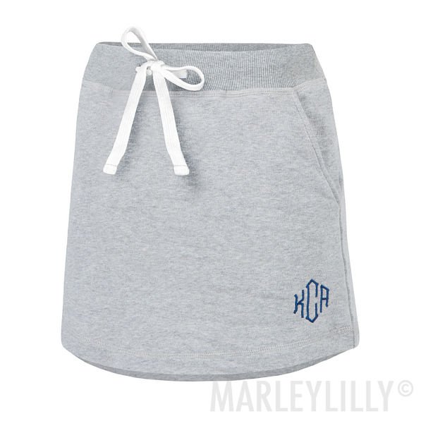 monogrammed gray athletic skirt with pockets