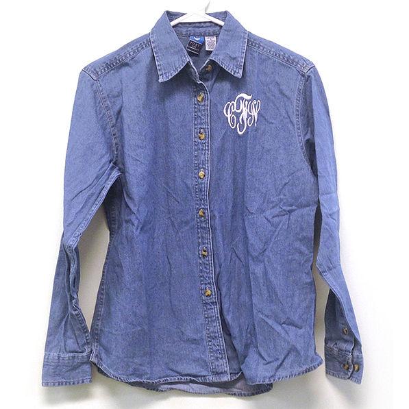 BLOOPER: Monogrammed Ladies Long Sleeve Denim Shirt