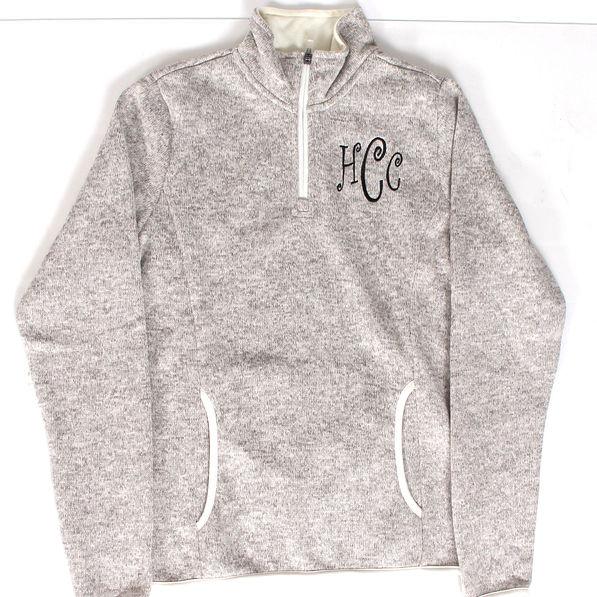 BLOOPER: Monogrammed Heathered Fleece Pullover