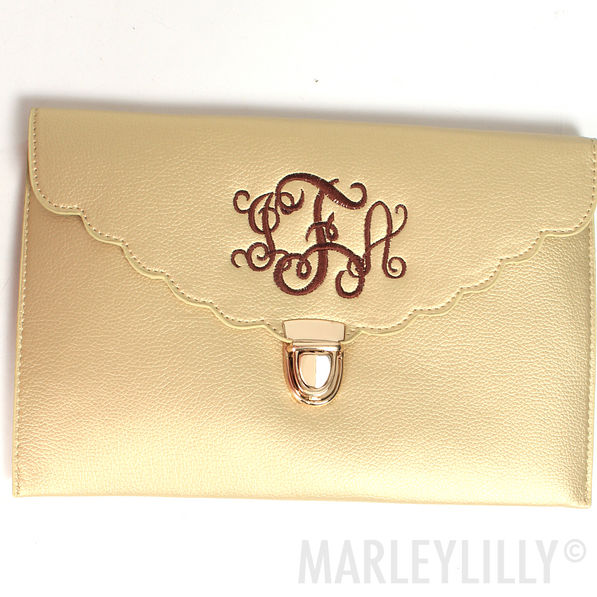 BLOOPER: Monogrammed Scalloped Luxe Clutch