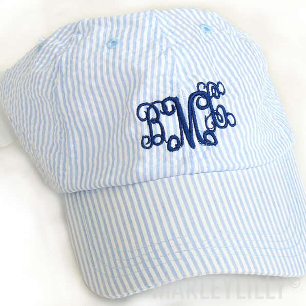 BLOOPER: Monogrammed Seersucker Baseball Hat