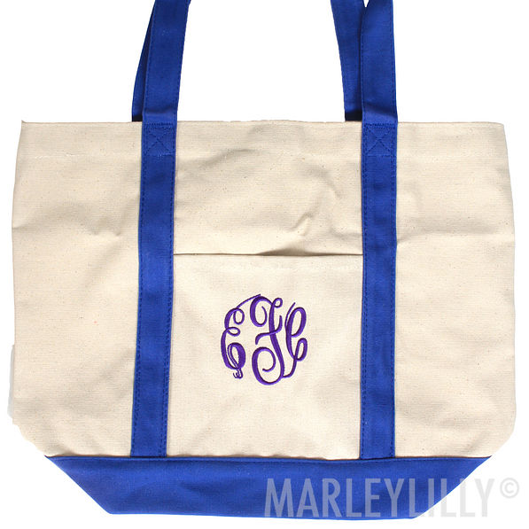 BLOOPER: Monogrammed Large Canvas Boat Tote