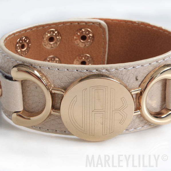 BLOOPER Monogrammed Leather Cuff Bracelet