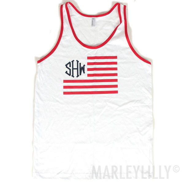 BLOOPER: Monogrammed American Apparel Patriotic Tank Top